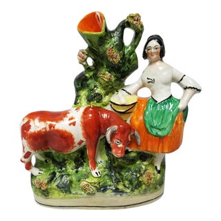 Late 19th Century Antique Staffordshire Spill Vase-Cow Figurine For Sale