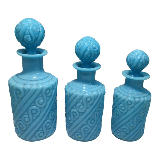 Portieux Vallerysthal Blue Opaline Swirl Vanity Perfume Bottle Set - 3 Pieces For Sale