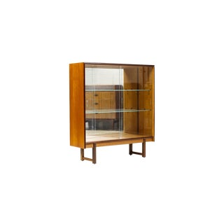 Vintage Mid Century Danish Modern Teak Display Bookshelf Cabinet For Sale