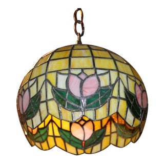Art Deco Stained Glass Pendant Chandelier For Sale