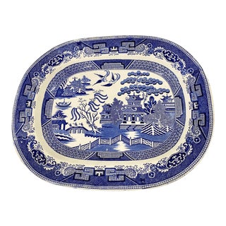 Antique Blue Willow Platter For Sale
