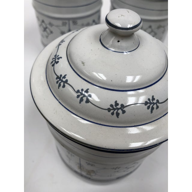 Vintage French Country Enamel Canister Set - Set of 6 For Sale - Image 12 of 13