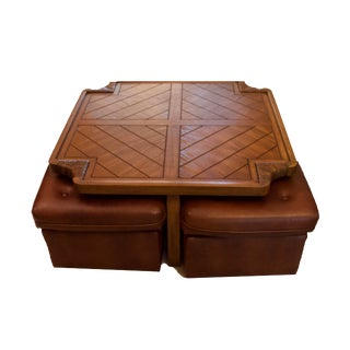 MCM Kroehler Game Coffee Table & Stowed 4 Wheeled Seats - 5 Pieces For Sale