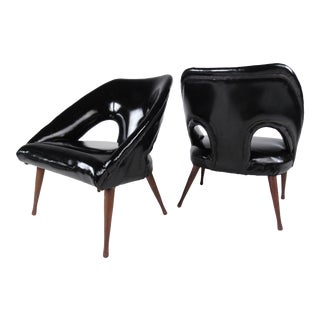 Pair of Mid-Century Glossy Black Vinyl Lounge Chairs For Sale