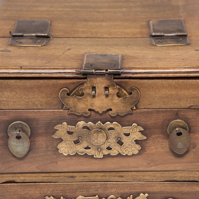 Metal Chinese Double Bat Jewelry Chest For Sale - Image 7 of 10