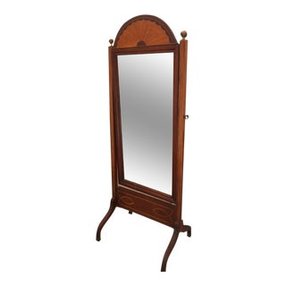 Vintage 1950s Regency Style Mahogany Cheval Mirror Satinwood Inlay For Sale