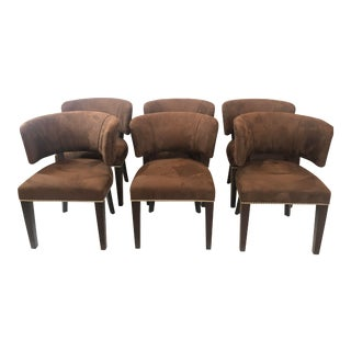 Ralph Lauren Cliff House Suede Upholstered Dining Chairs- Set of 6 For Sale