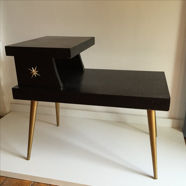 Mid-Century Black & Gold Starburst Side Table For Sale In Providence - Image 6 of 9