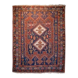 Early 20th Century Antique Persian Shiraz Rug - 4′8″ × 5′11″ For Sale