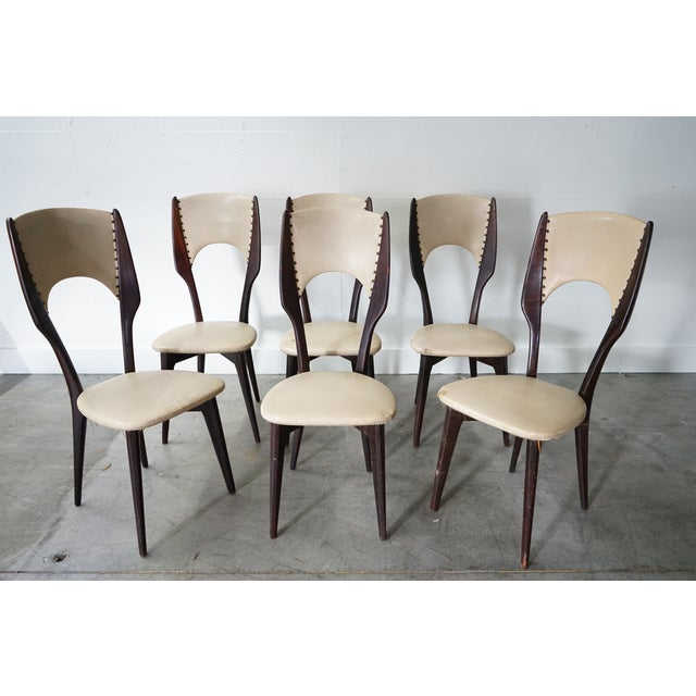 Brown Vintage Italian Dining Chair by Designer Gio Ponti, Sold as a Set For Sale - Image 8 of 9
