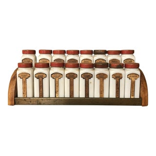 Early 20th Century Griffiths Antique Spice Rack - Set of 17 For Sale