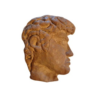 1920s Vintage French Terra Cotta Greek Inspired Profile Sculpture For Sale
