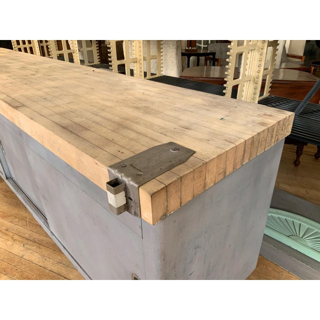 Vintage Industrial Steel Cabinet With Butcher Block Top For Sale In New York - Image 6 of 10