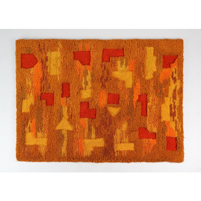 Textile Orange and Yellow Op Pop Mod Woven Tapestry / Rug - 3′6″ × 5′5″ For Sale - Image 7 of 7