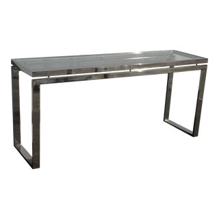 Vintage Mid Century Modern Silver Chrome Console Entry Table For Sale