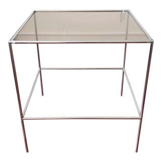 Vintage Modern 1960s Chrome and Smoked Glass Side Table For Sale