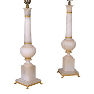 French Alabaster Lamps For Sale