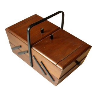 1960s Vintage Solid Wooden Sewing Basket With Some Original Sewing Items For Sale