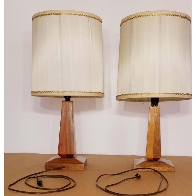 Mid-Century Teak Table Lamps With Original Shades - a Pair For Sale - Image 4 of 9