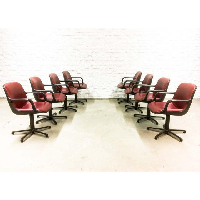 Sublime set of eight high quality modern office/desk chairs designed by Charles Pollock and manufactured by Comforto, USA...