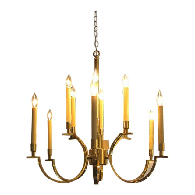 NeoClassical Moderne Brass Chandelier For Sale