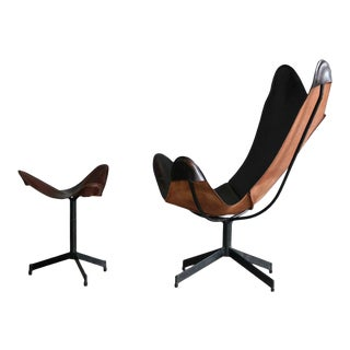 William Katavolos Leather Sling Chair and Ottoman for Leathercraft For Sale