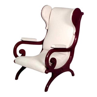 German Biedermeier Mahogany Wing Chair For Sale