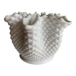 Vintage White Hobnail Fluted Vase For Sale