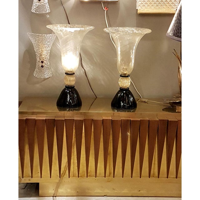 Art Deco Venini mid-century modern gold & black Murano glass Urn lamps - a pair For Sale - Image 3 of 8