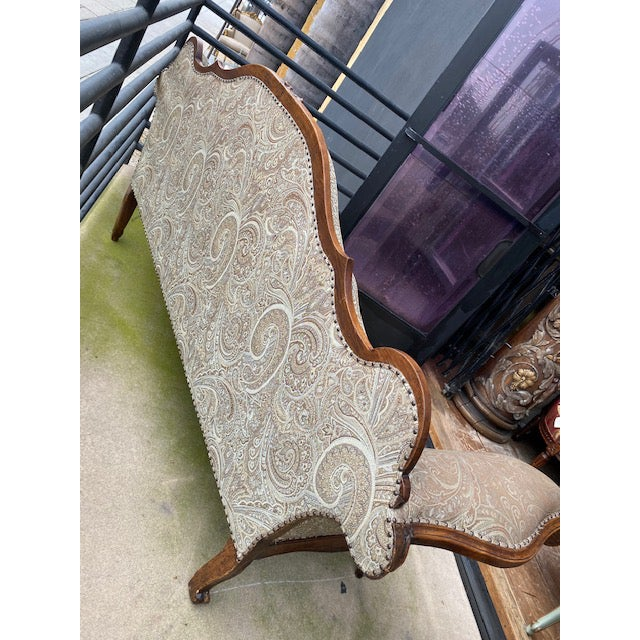 Early 19th C. French Walnut Settee With Guilt Accents For Sale - Image 11 of 13