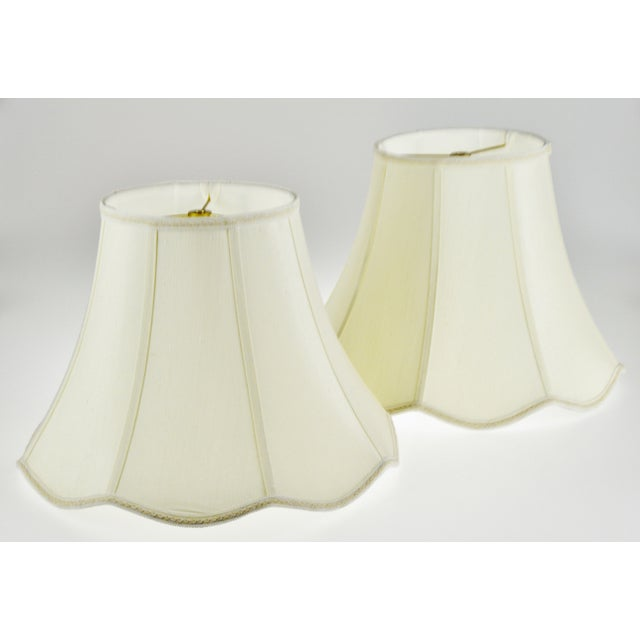 Fabric Vintage Bell Shape Scalloped Edge Fabric Lamp Shades - a Pair For Sale - Image 7 of 10