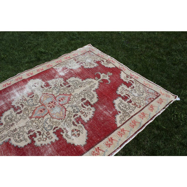 Vintage Turkish Anatolian Handmade Home Decorative Red Color Area Size Rug- 5′7″ × 8′3″ For Sale - Image 4 of 9