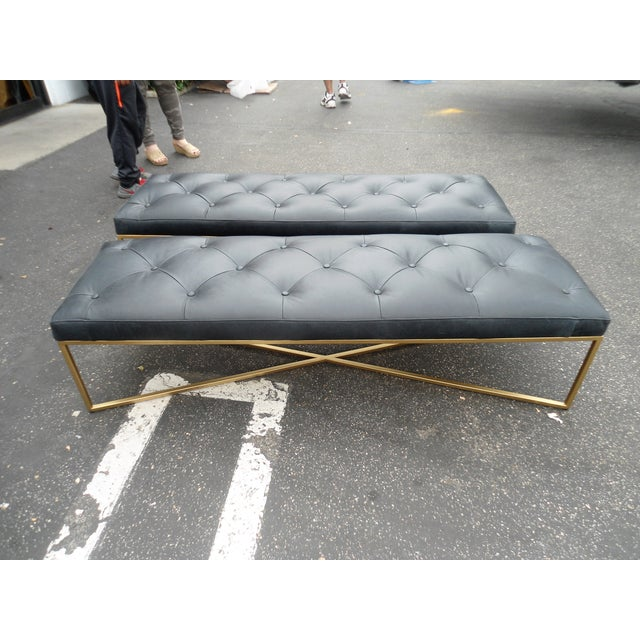 Astonishing Black Leather Tufted Bench With Gold Brass Base Bralicious Painted Fabric Chair Ideas Braliciousco