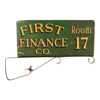 1900s Double-Sided, First Finance Company Sign