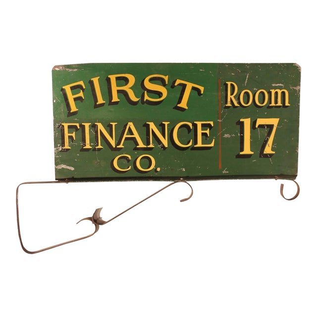 "1900s Vintage Double-Sided ""First Finance Company"" Sign For Sale"