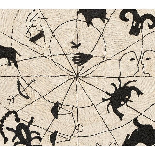 "Schumacher Modern Charlap Hyman Herrero Astrologia Zodiac Beige Abaca Fiber Round Rug- 5'10"" X 5' 10"" For Sale - Image 4 of 5"