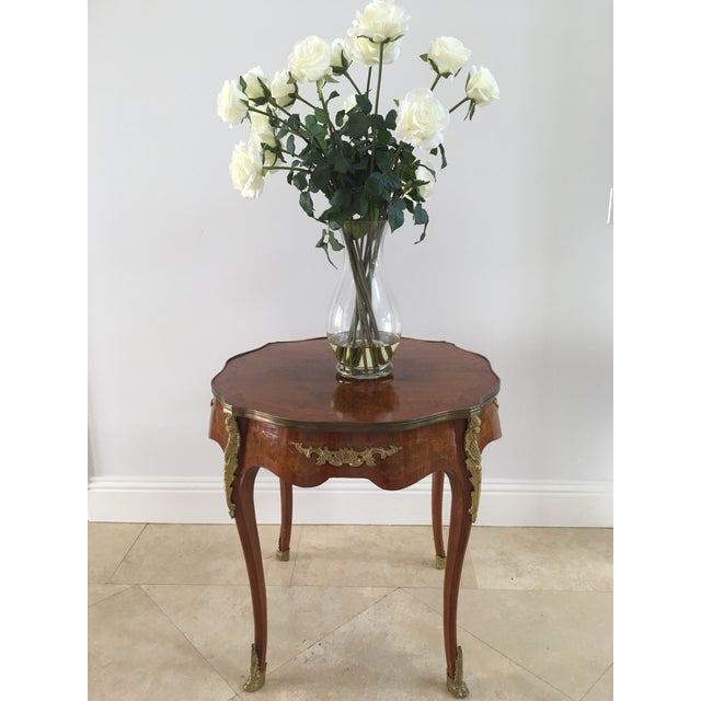 Brass 1940s French Louis XVI Cherrywood Table For Sale - Image 7 of 8