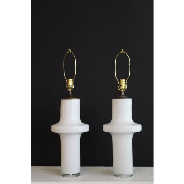 Mid-Century Modern Vico Magistretti Style Murano Glass Table Lamps - a Pair For Sale - Image 3 of 13