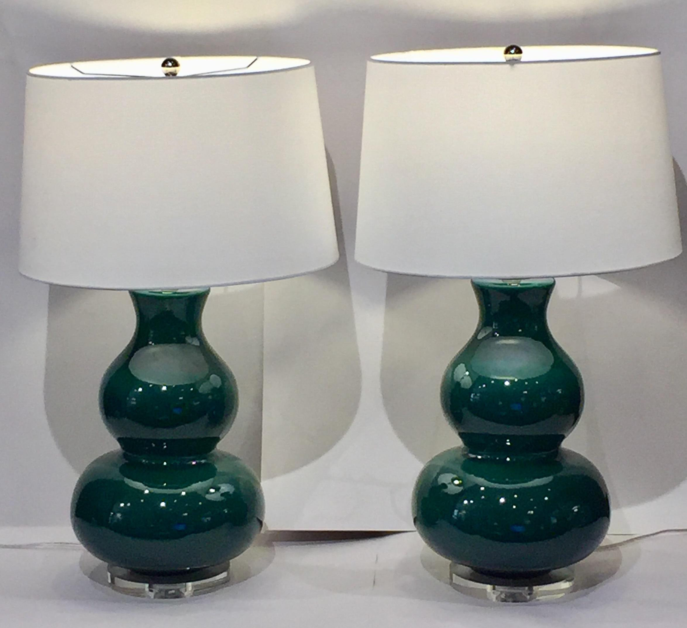 Emerald Green Table Lamps A Pair Chairish