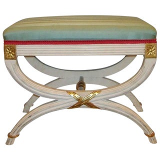 "Hollywood Regency Paint Decorated ""x"" Form Bench or Footstool For Sale"