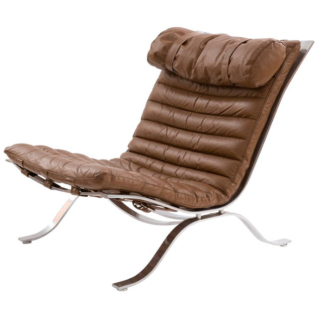 "1960s Arne Norell ""Ari"" Steel and Leather Lounge Chair For Sale In Phoenix - Image 6 of 6"