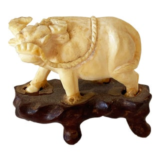 """19th Century Ivory Miniature / Water Buffalo on Stand 1.50"""" H For Sale"""