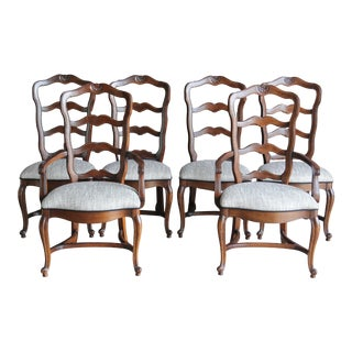 Late 20th Century Country French Ladder Back Dining Chairs - Set of 6 For Sale