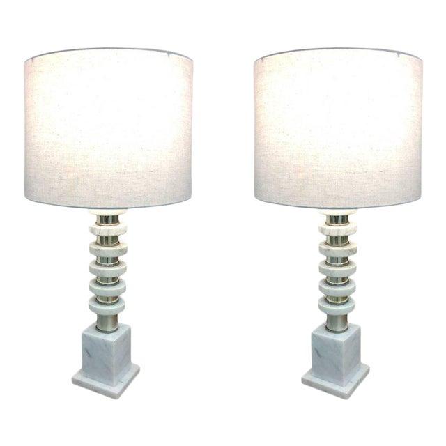 Italian Mid-Century Modern Marble & Chrome Lamps - a Pair For Sale