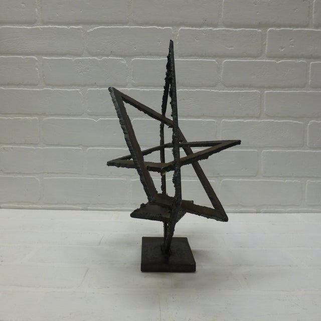 Metal Mid-Century Hand Forged Brutalist Sculptural Candle Holder For Sale - Image 7 of 11