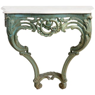 Green Carved Wall Mount Console For Sale