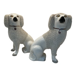 Vintage English Staffordshire Porcelain Dog Statues - a Pair For Sale