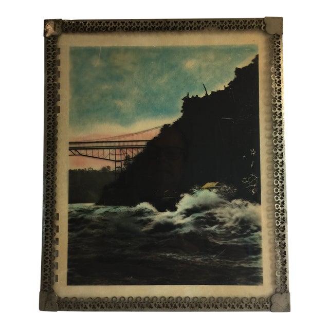 Mid Century Vintage Ocean Waters and Bridge Framed Photo For Sale