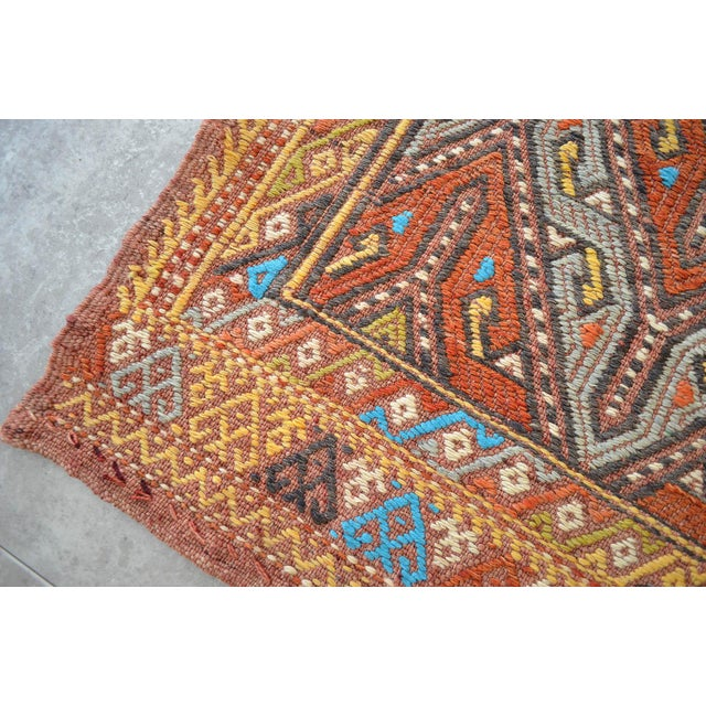 """Textile Antique Turkish Kilim Rug Hand Woven Wool Jajim Braided Area Rug - 5'6"""" X 8'3"""" For Sale - Image 7 of 10"""