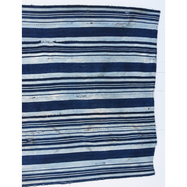 Custom Tailored Blue & White Flag Created From Vintage African Fabrics - Image 9 of 11